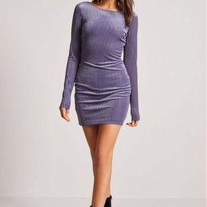 Velvet Shadow-Striped Mini Dress